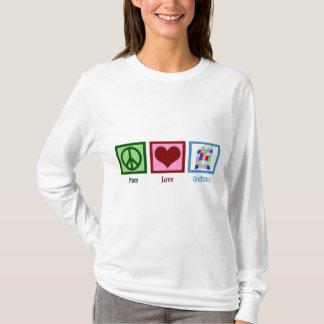 El acolchar del amor de la paz camiseta
