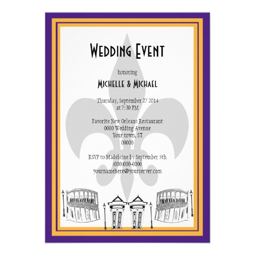El acontecimiento del boda de New Orleans invita ( Anuncio