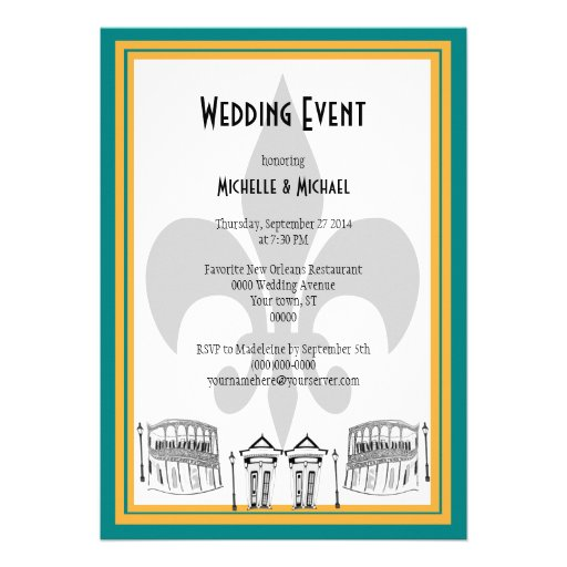 El acontecimiento del boda de New Orleans invita ( Comunicado Personalizado