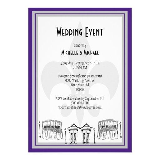 El acontecimiento del boda de New Orleans invita ( Invitacion Personalizada