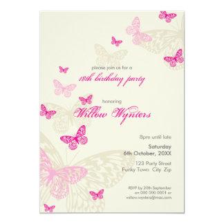 EL ACONTECIMIENTO ESPECIAL INVITA:: mariposas 4P Invitación 12,7 X 17,8 Cm