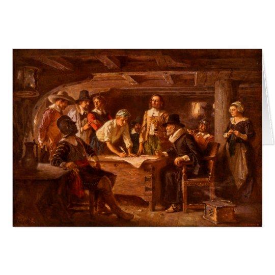 El acuerdo de Mayflower de Jean León Gerome Ferris Tarjeta De Felicitación