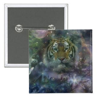 El agacharse salvaje del tigre de los ojos hermoso chapa cuadrada 5 cm