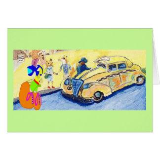 El agitar abajo del taxi tarjeta de felicitación