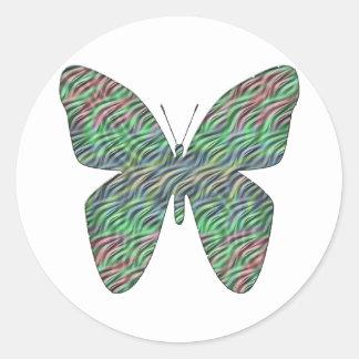 El AGITAR de la mariposa Pegatina Redonda