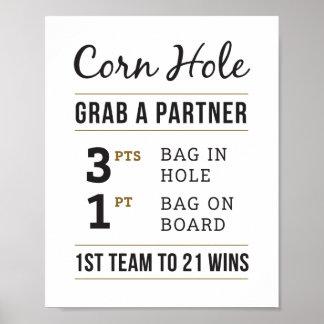 El agujero rústico simple del maíz del boda póster