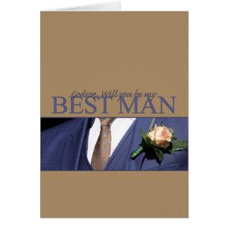 El ahijado sea por favor el mejor hombre - tarjeta de felicitación