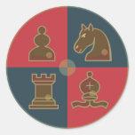 El ajedrez ajusta alrededor del pegatina