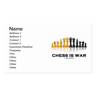 El ajedrez es guerra (el juego de ajedrez reflexiv tarjetas de negocios