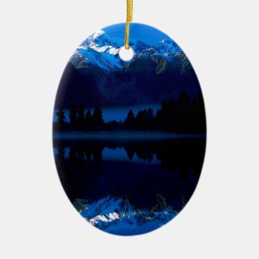 El albañil del lago refleja al cocinero Nueva Zela Ornamento Para Arbol De Navidad