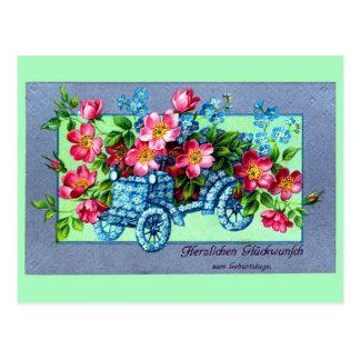 El alemán del vintage florece feliz cumpleaños del postal