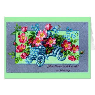 El alemán del vintage florece feliz cumpleaños del tarjeta de felicitación
