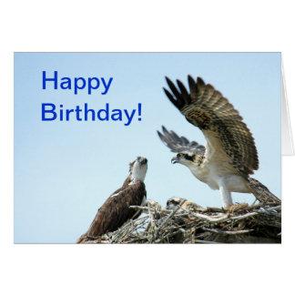 El aleteo del osprey del feliz cumpleaños se va tarjeta