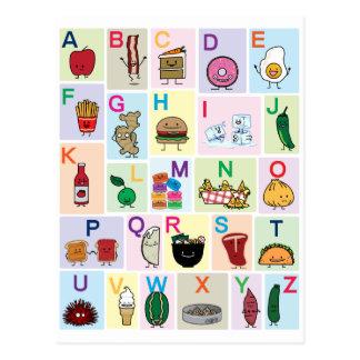 El alfabeto de ABC que aprende las comidas felices Postal