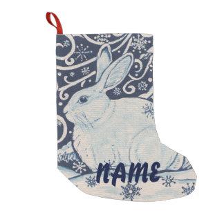 El almacenamiento azul y blanco del navidad del calcetín navideño pequeño