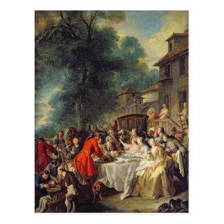 El almuerzo de la caza, 1737 postal