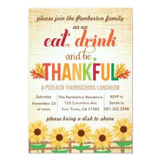 El almuerzo Potluck de la acción de gracias come Invitación 12,7 X 17,8 Cm