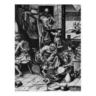 El alquimista de Pieter Bruegel la anciano Postal