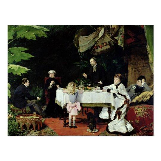El alumerzo en el invernadero, 1877 postal