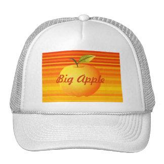 El amarillo anaranjado grande de Apple raya verano Gorras De Camionero