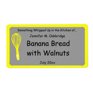 El amarillo bate la comida hecha en casa etiquetas de envío