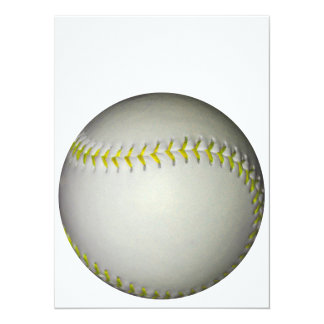 El amarillo cose béisbol/softball invitación 13,9 x 19,0 cm