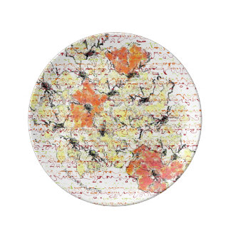 El amarillo, el oro y el naranja resumieron plato de porcelana