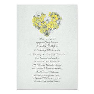 el amarillo florece al fiesta de compromiso del invitación 12,7 x 17,8 cm