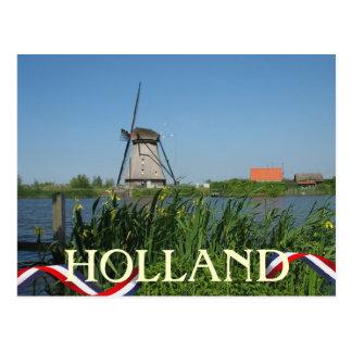 El amarillo holandés del molino de viento florece postal