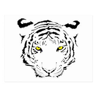 El amarillo peligroso, asustadizo observa el tigre postal