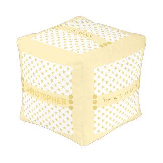 El amarillo personalizado protagoniza al bebé pouf