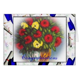El amarillo rojo de la enhorabuena florece la tarj