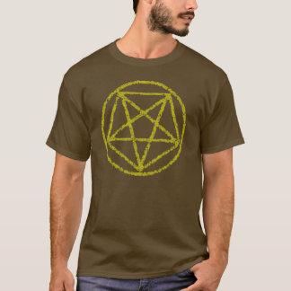 El amarillo se descoloró camiseta satánica del