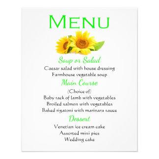 El amarillo verde floral del menú florece el boda