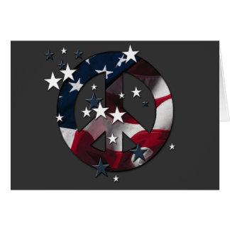 El americano del signo de la paz protagoniza y tarjeta de felicitación