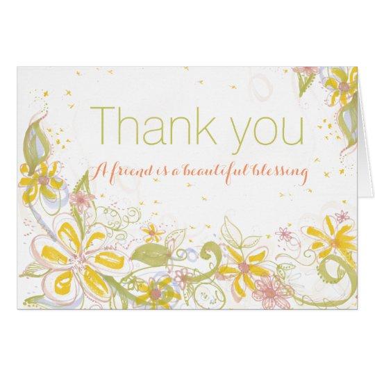 El amigo es espacio en blanco hermoso de la tarjeta de felicitación
