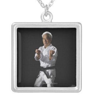 El amo del karate, retrato, estudio tiró 2 collar plateado