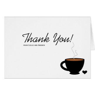 El amor acogedor del café le agradece tarjeta de