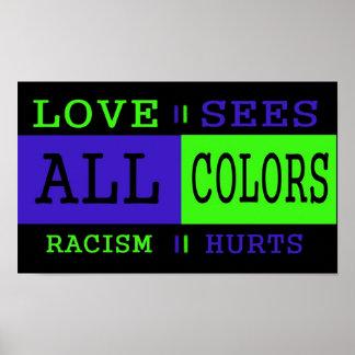 El amor considera todos los colores póster
