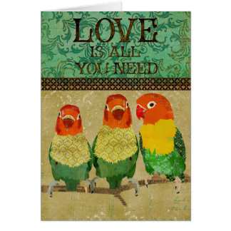 El amor de los pájaros del amor es todo lo que ust tarjeta