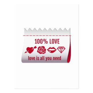 el amor del 100%, amor es todo lo que usted necesi postal