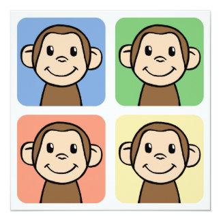 El amor del clip art I del dibujo animado Monkeys Invitación 13,3 Cm X 13,3cm