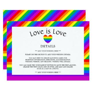 El amor del corazón del arco iris es detalle del invitación 11,4 x 15,8 cm