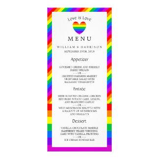El amor del corazón del arco iris es menú del boda