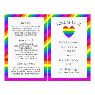 El amor del corazón del arco iris es programa del folleto 21,6 x 28 cm