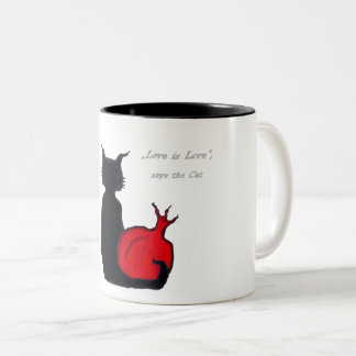 El amor es amor, dice el gato taza bicolor