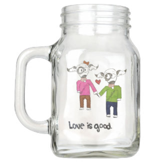 """El """"amor es buena"""" taza del tarro de albañil"""