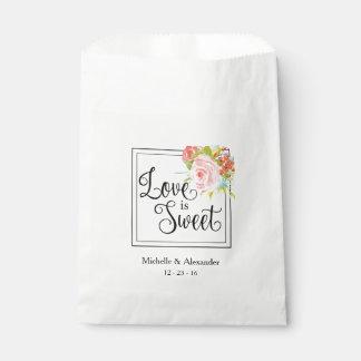 El amor es dulce - bolso del favor del boda, bolsa de papel