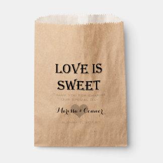 El amor es dulce personalizado casando el bolso bolsa de papel