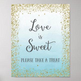 El amor es impresión dulce del poster del boda